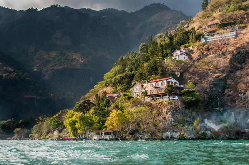 View of houses on cliffs at Lake Atitlan, Guatemala