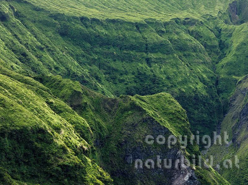 Detailfoto der Calderawand, Faial, Azoren, Portugal