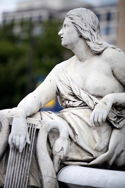 Muse from Fiedrich Schiller's statue on Gendarmenmarkt square, Berlin, Germany