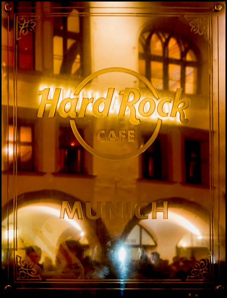 The Hofbrauhaus as seen in the reflection of the Hard Rock Cafe Sign