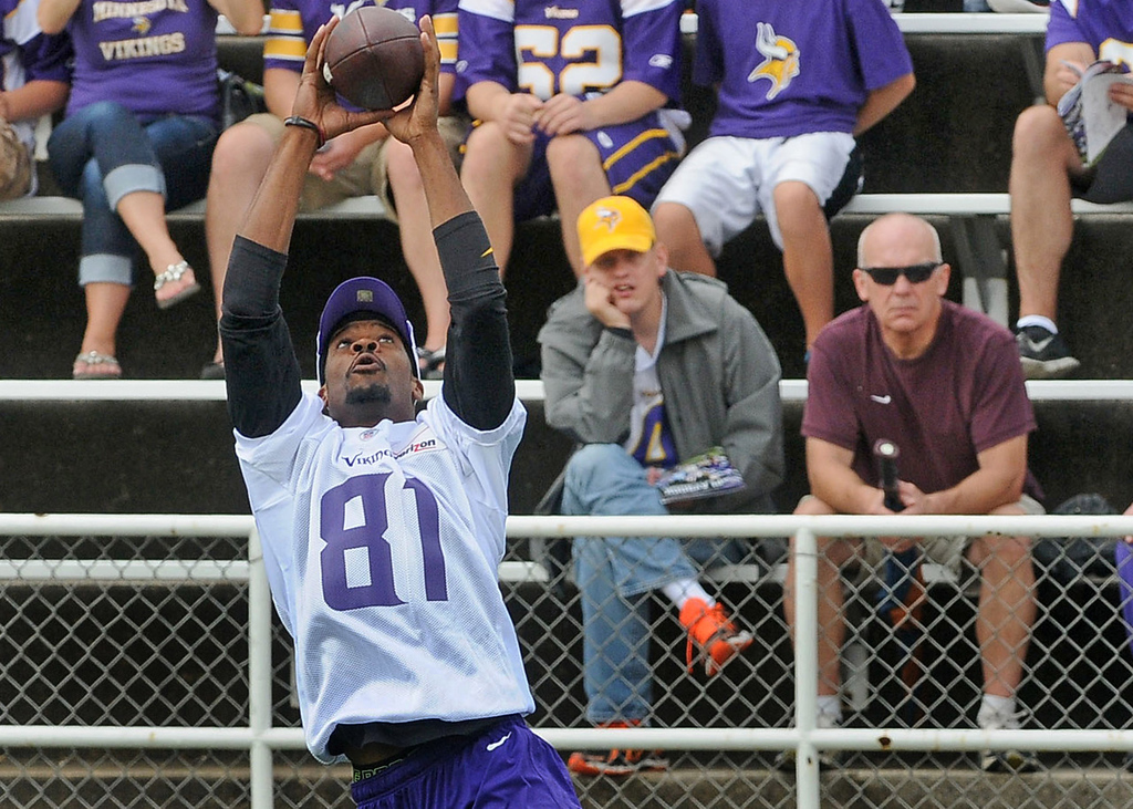 . Vikings wide receiver Jerome Simpson goes up for the ball in front of fans during morning practice.(Pioneer Press: Sherri LaRose-Chiglo)