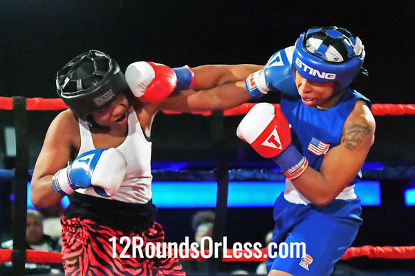 Bout #12:  Stephanie Malone, Red Gloves, Raul Tores BC, Louisville, KY   vs   Morelle McCane, Blue Gloves, Bob Davis BC, Cleveland, OH,  152 Lbs.