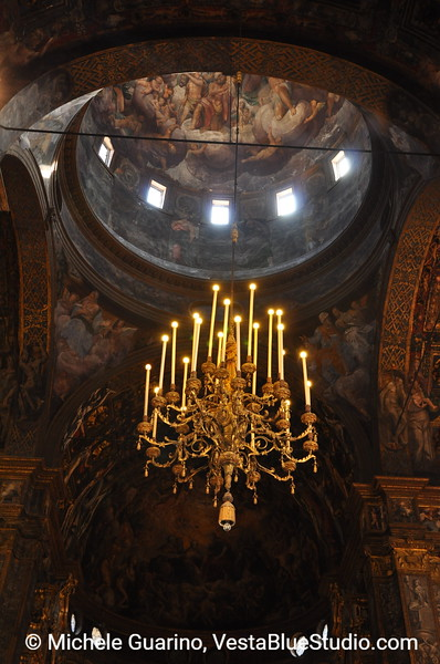 Chandelier in Gothic Church, Parma, Italy