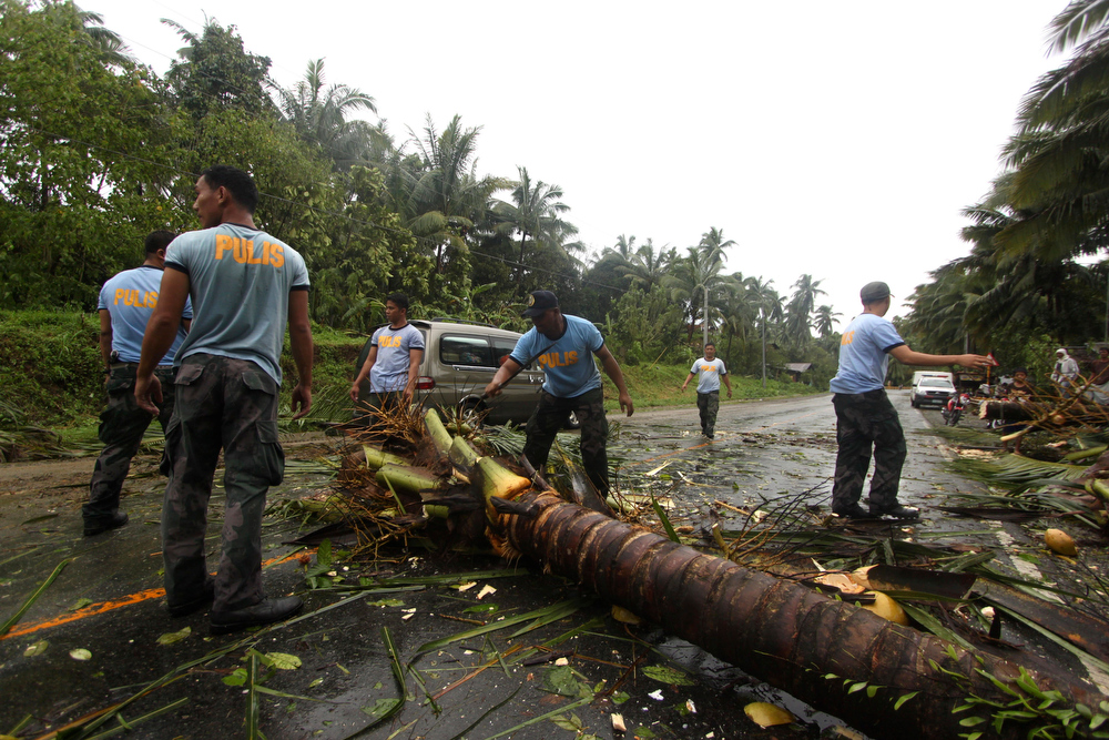 Description of . Philippine National Police clear a highway of toppled coconut trees after Typhoon Bopha made a landfall in Compostela Valley in southeastern Philippines Tuesday Dec. 4, 2012. A Philippine governor says at least 33 villagers and soldiers have drowned when torrents of water dumped by the powerful typhoon rushed down a mountain, engulfing the victims and bringing the death toll from the storm to about 40. (AP Photo/Karlos Manlupig)