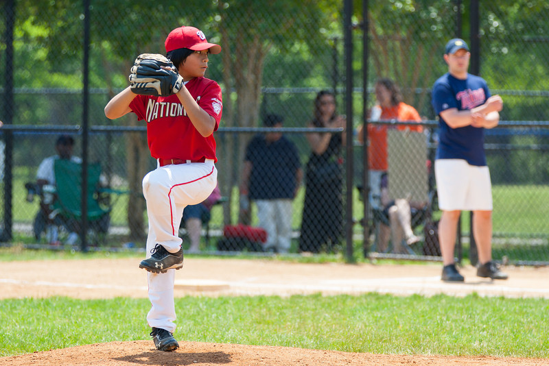 Alex pitching in the bottom of the 4th inning. The bats of the Nationals were supported by a great defensive outing in a 11-4 win over the Twins. They are now 7-3 for the season. 2012 Arlington Little League Baseball, Majors Division. Nationals vs Twins (13 May 2012) (Image taken by Patrick R. Kane on 13 May 2012 with Canon EOS-1D Mark III at ISO 400, f4.0, 1/1250 sec and 210mm)