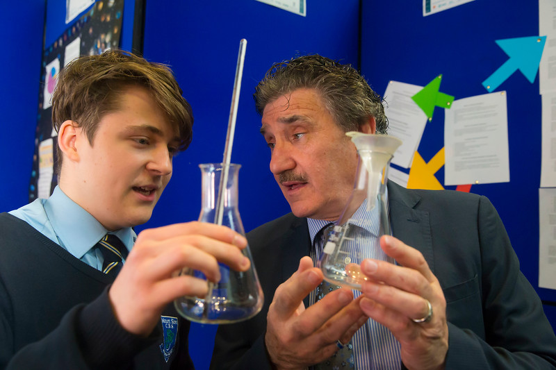 "01/05/2018. SciFest at WIT (Waterford Institute of Technology) at the Arena. Pictured with Minister John Halligan TD is Max Sarba CBS Mount Sion with his project ""Self Heating Soap"". Picture: Patrick Browne"