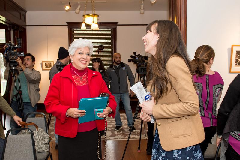 Mayor Nelda Martinez(left), speaks to C-SPAN representative Ashley Hill.