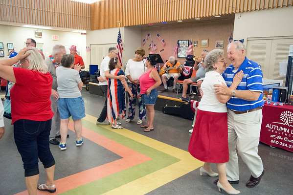 07/03/19 Wesley Bunnell | Staff The New Britain Senior Center was the scene for a 4th of July Red White & Boom Party presented by Autumn Lake on Wednesday July 3, 2019. The event featured food, raffle items and a live band.