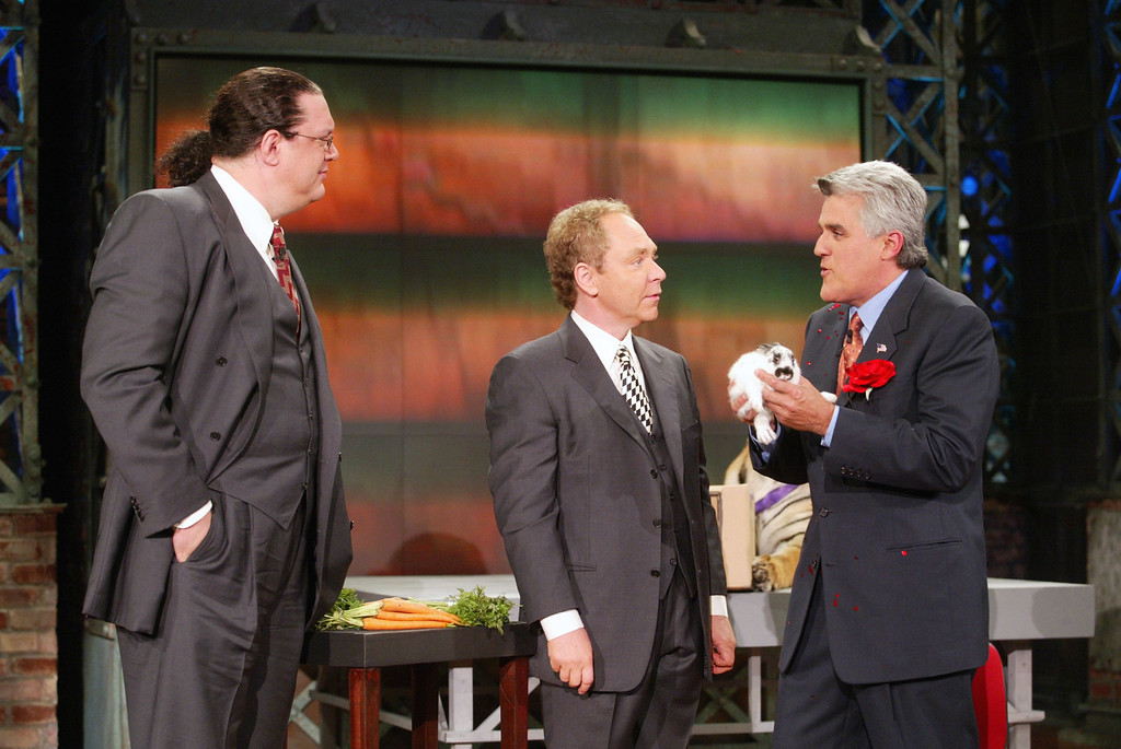 ". Penn and Teller at ""The Tonight Show with Jay Leno\"" at the NBC Studios in Burbank, Ca. Thursday, Sept. 19, 2002. Photo by Kevin Winter/ImageDirect"