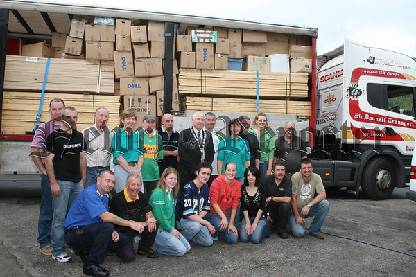 Chernobyl Aid North members getting a send of by Mayor Michael Cole as a packed lorry heads of for Belarus, The Newry & Mourne Council donated drinking water for the trip and the lorry leaves on the 7th September and the group will follow on the 12th September, 07W36N58