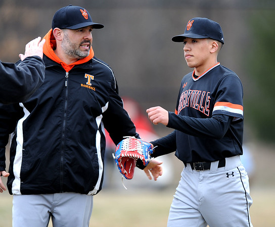 4/11/2019 Mike Orazzi | Staff Terryville's Brian Rosano and Albert Molina (16) during Thursday's baseball game with Thomason at Terryville High School.