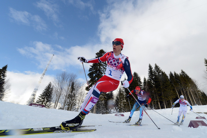 . Gold winner Norway\'s Ola Vigen Hattestad and Russia\'s Anton Gafarov compete in the Men\'s Cross-Country Skiing Individual Sprint Free Final at the Laura Cross-Country Ski and Biathlon Center during the Sochi Winter Olympics on February 11, 2014 in Rosa Khutor near Sochi . (KIRILL KUDRYAVTSEV/AFP/Getty Images)