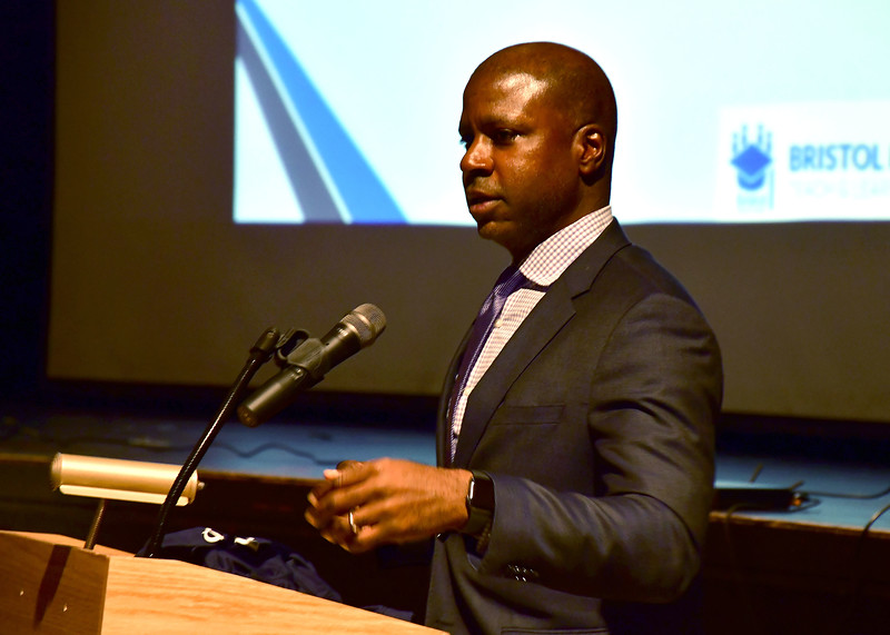 8/27/2019 Mike Orazzi   Staff Guest speaker Malcolm Huckaby during the convocation held at Bristol Central High School as teachers and administrators prepare for the start of the school year.