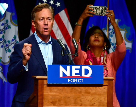 10/26/2018 Mike Orazzi | Staff Ned Lamont and Connecticut 5th congressional district candidate Jahana Hayes during former Vice President Joe Biden's visit to campaign for fellow democrats in Hartford on Friday.