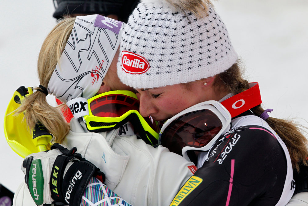 . Mikaela Shiffrin of the USA wins the gold medal, Michaela Kirchgasser of Austria wins the silver medal during the Audi FIS Alpine Ski World Championships Women\'s Slalom on February 16, 2013 in Schladming, Austria. (Photo by Christophe Pallot/Agence Zoom/Getty Images)