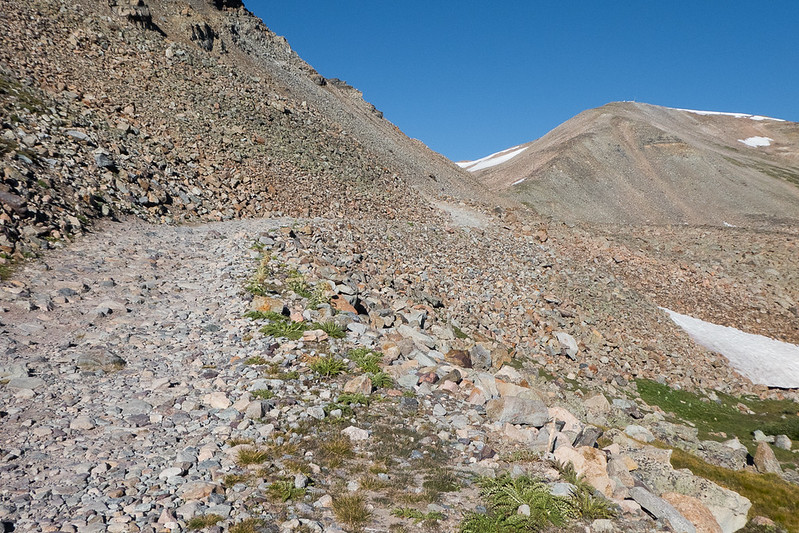 Mosquito Pass Rd past the mine - ugh!  Kuss Peak to the right