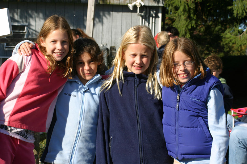 L to R, Sydney, Anisa, Annie and Nina.  Sydney and Annie came to watch their friends ride.