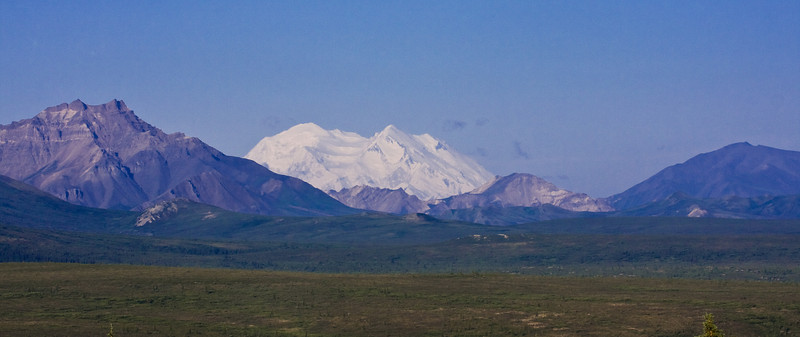 """IMG_7459-1 Mt. McKinley, or """"Denali"""", in the Denali National Forest.  Mt. McKinley is the highest mountain in the US at 20,000 feet.  It's only visible 1 day in July (on average) and we were lucky enough to be there on that day!"""