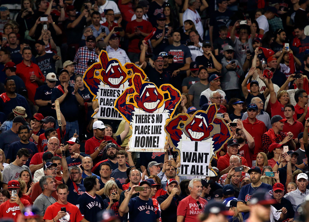 . Cleveland Indians celebrate after Game 2 of baseball\'s American League Division Series against the Boston Red Sox, Friday, Oct. 7, 2016, in Cleveland. Cleveland won 6-0. (AP Photo/Aaron Josefczyk)
