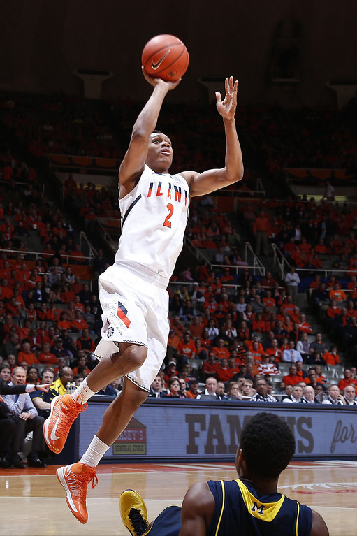 . CHAMPAIGN, IL - MARCH 4: Joseph Bertrand #2 of the Illinois Fighting Illini drives to the basket against the Michigan Wolverines during the game at State Farm Center on March 4, 2014 in Champaign, Illinois. Michigan defeated Illinois 84-53. (Photo by Joe Robbins/Getty Images)