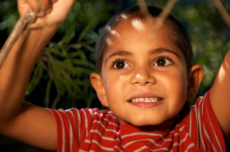 Six-year-old Aboriginal Boy climbing a Tree