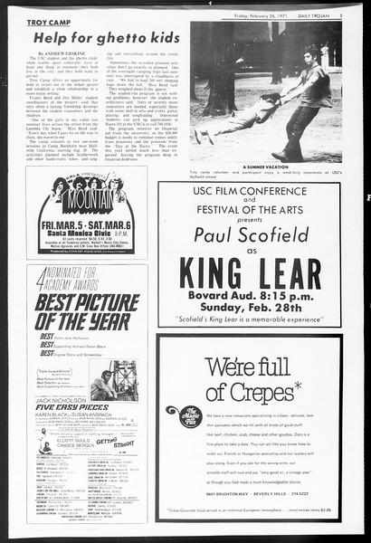 Daily Trojan, Vol. 62, No. 77, February 26, 1971