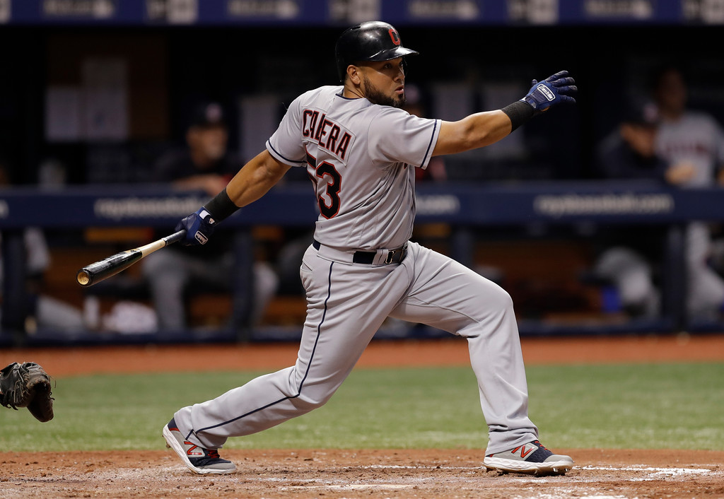 . Cleveland Indians\' Melky Cabrera singles off Tampa Bay Rays pitcher Adam Kolarek during the sixth inning of a baseball game Monday, Sept. 10, 2018, in St. Petersburg, Fla. (AP Photo/Chris O\'Meara)