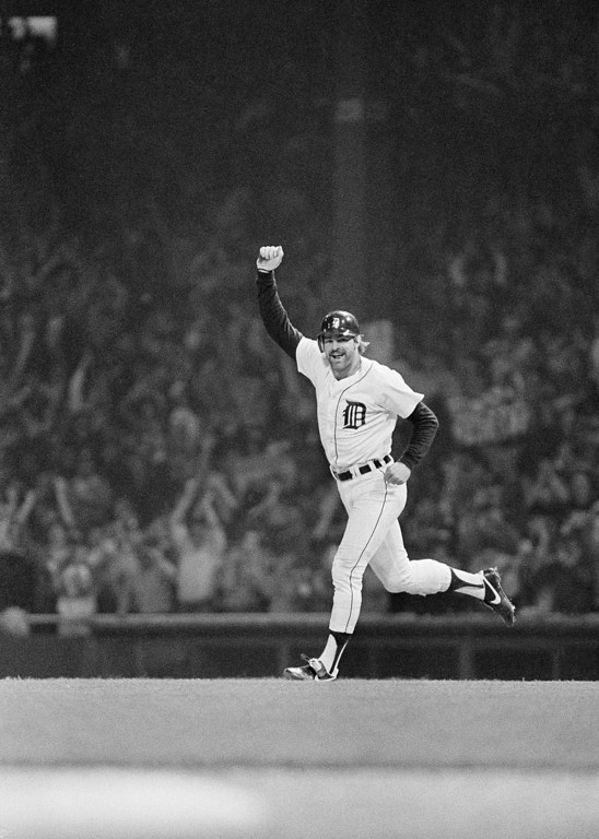 . Kirk Gibson runs the bases in the eighth inning Sunday, Oct. 15, 1984 in Detroit, his second home run in the Detroit Tigers 8-4 win over the San Diego Padres. The Tigers won the World Series in five games. (AP Photo/Rusty Kennedy)
