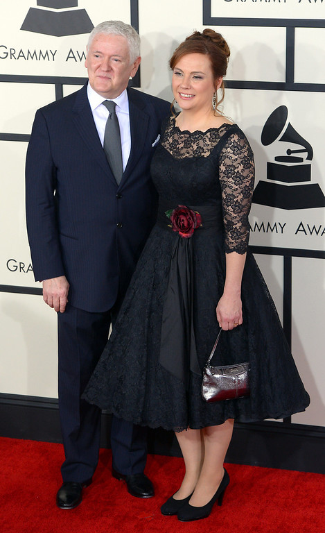 . Jim Anderson and Darcy Proper arrive at the 56th Annual GRAMMY Awards at Staples Center in Los Angeles, California on Sunday January 26, 2014 (Photo by David Crane / Los Angeles Daily News)
