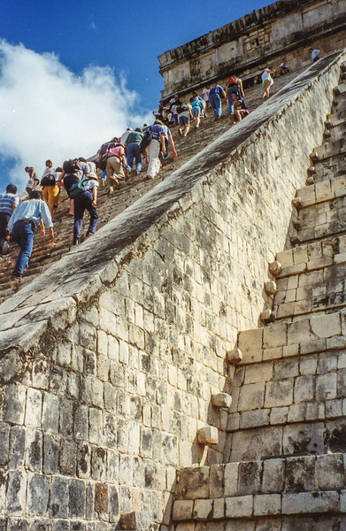 I had to climb El Castillo in my sandals (lost luggage!), Mexico, 1998