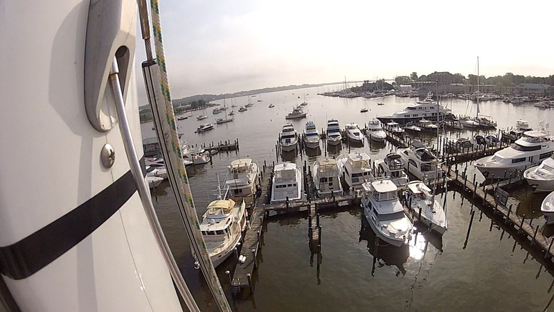 View of the harbor in Annapolis from the top of the mast.