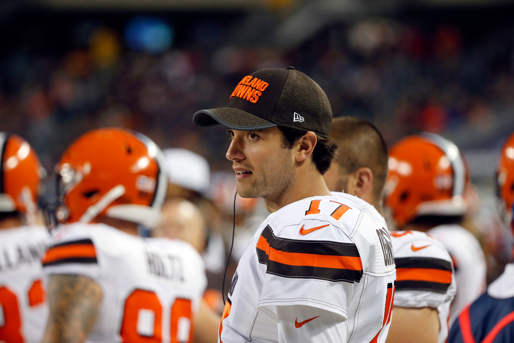 . Cleveland Browns quarterback Brock Osweiler (17) during the second half of an NFL preseason football game against the Chicago Bears, Thursday, Aug. 31, 2017, in Chicago. (AP Photo/Charles Rex Arbogast)