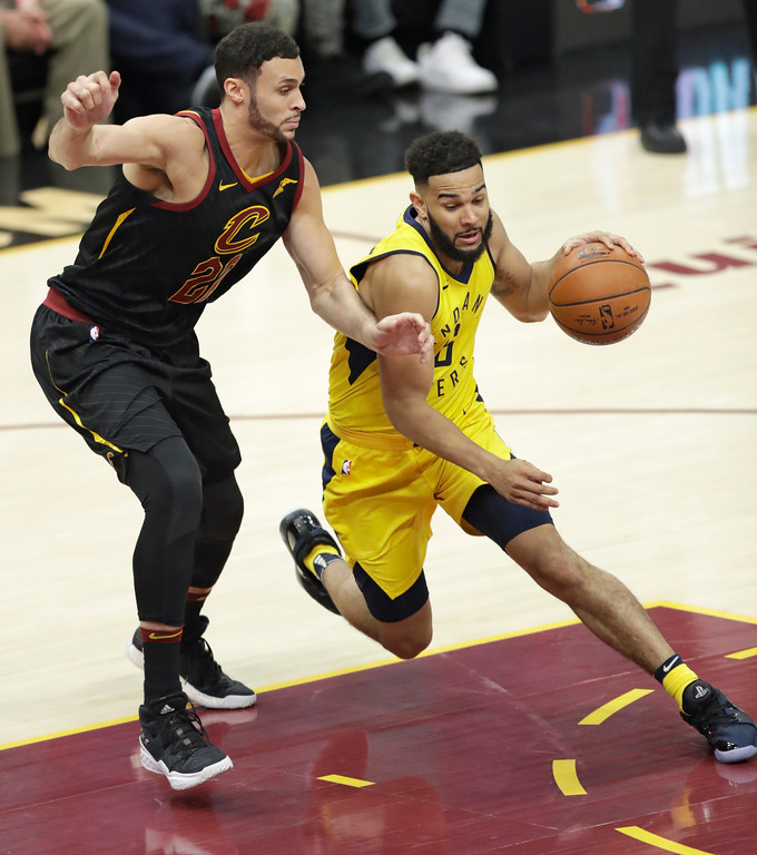 . Indiana Pacers\' Cory Joseph (6) drives past Cleveland Cavaliers\' Larry Nance Jr. (22) in the second half of Game 5 of an NBA basketball first-round playoff series, Wednesday, April 25, 2018, in Cleveland. (AP Photo/Tony Dejak)