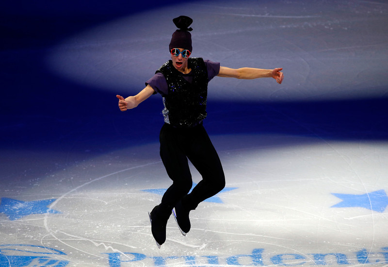 . Men\'s second place finisher Jason Brown performs during the skating spectacular after the U.S. Figure Skating Championships in Boston, Sunday, Jan. 12, 2014. (AP Photo/Elise Amendola)