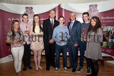 St Paul's High School Bessbrook, Senior Prizegiving on Thursday last.Pictured are students who received  Awards for Outstanding Academic Excellence at  A level, Eoghan Coleman, Ciaran Finnegan,John Mc Aleer, Shauna Mc Cabe, Conor Mc Crink, Eileen Muckian,with Principle Mr Jarlath Burns, Mr John Campbell,Chairman of Governors.R1438710