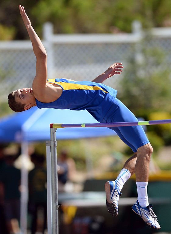 . High jump action during the Marmonte League track and field finals May 9, 2014 in Moorpark.(Andy Holzman/Los Angeles Daily News)