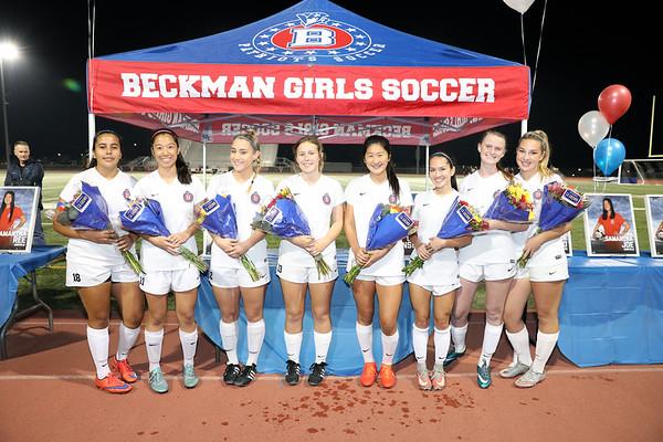 Beckman Girls Soccer Senior Night 02.01.18