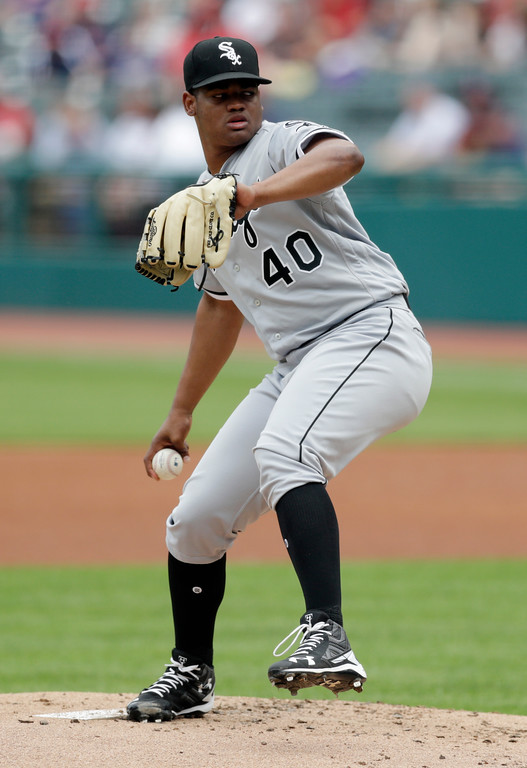 . Chicago White Sox starting pitcher Reynaldo Lopez delivers in the first inning of a baseball game against the Cleveland Indians, Wednesday, May 30, 2018, in Cleveland. (AP Photo/Tony Dejak)