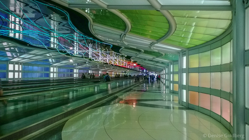 airport lights, at Chicago's O'Hare Airport