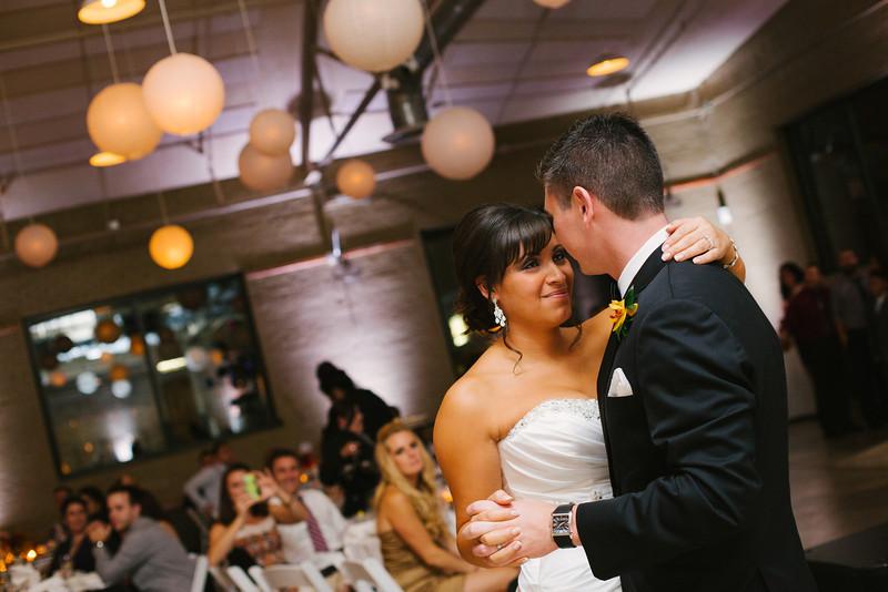 Wedding Reception at the Prairie Street Brewhouse along the river in Rockford, IL.  Wedding photographer – Ryan Davis Photography – Rockford, Illinois.