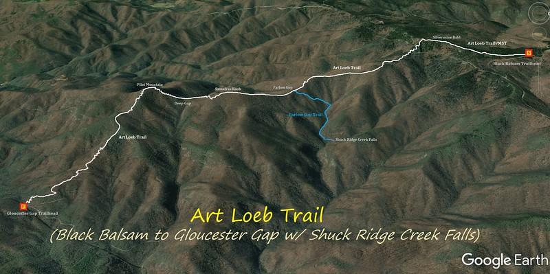 Art Loeb Trail - Black Balsam to Gloucester Gap Hike Route Map