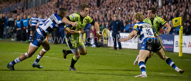 Stephen Myler passes to Jamie Elliott for Saints' only try vs Bath Rugby