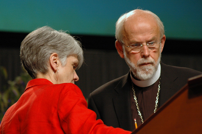 Myrna Sheie, executive for governance and institutional relations, speaks with Presiding Bishop Mark S. Hanson