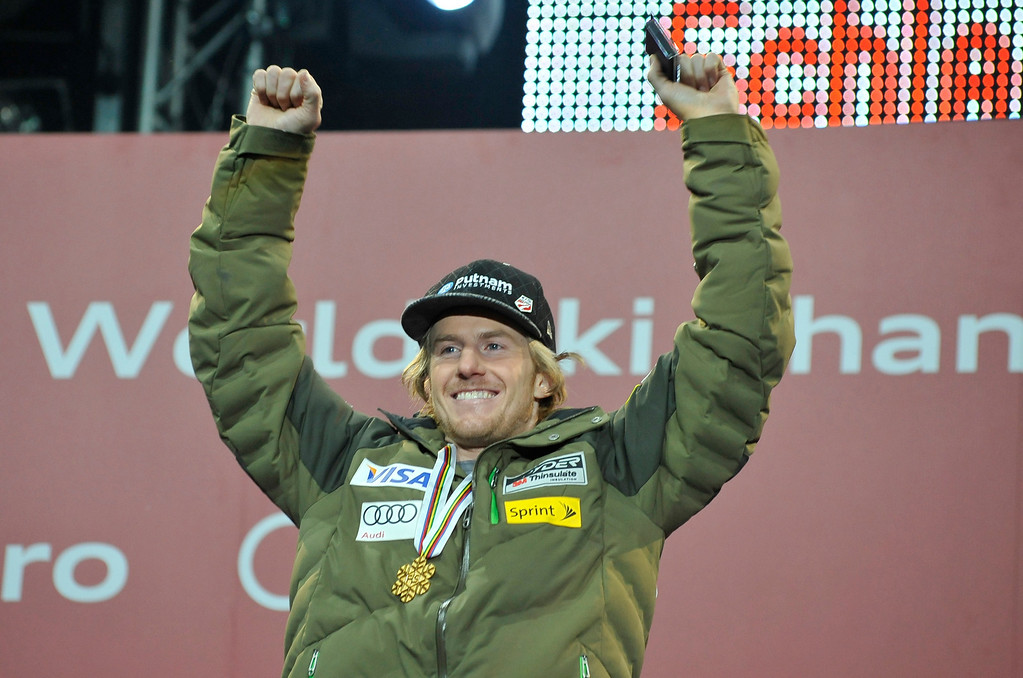 . Gold medal winner US Ted Ligety poses with his medals on the podium during the medal awards ceremony for the men\'s Giant slalom at the 2013 Ski World Championships in Schladming, Austria on February 15, 2013.  SAMUEL KUBANI/AFP/Getty Images