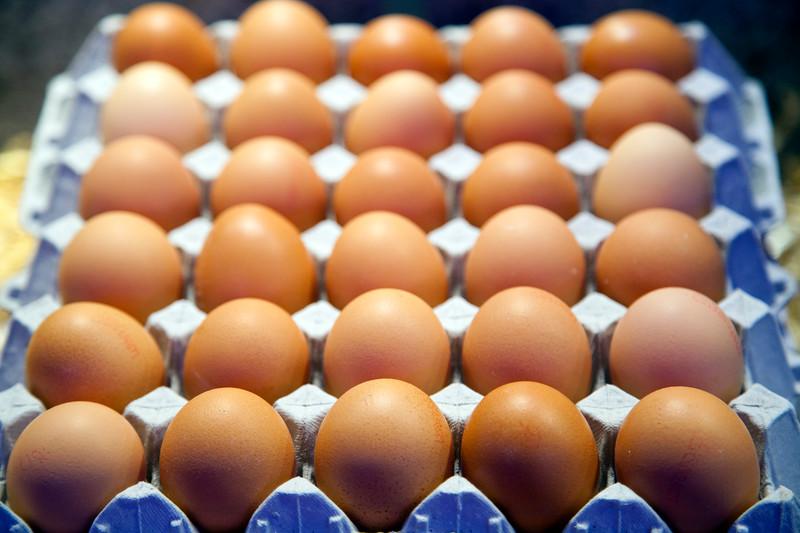 Eggs for sale, Boqueria market, town of Barcelona, autonomous commnunity of Catalonia, northeastern Spain
