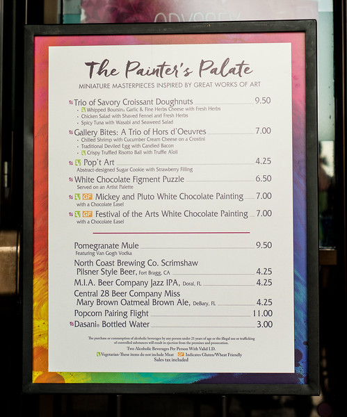 Epcot International Festival of the Arts - The Painter's Palate Menu - Magic Kingdom Walt Disney World