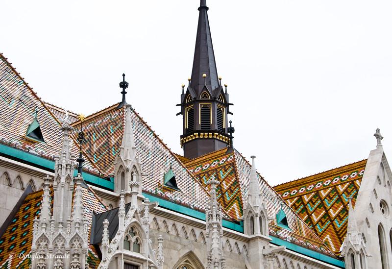 Tile roofs of Matthas Church, Budapest