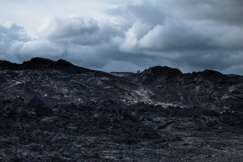 lava field with steam
