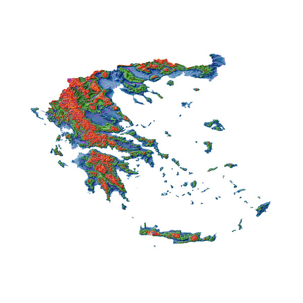 Elevation map of Greece