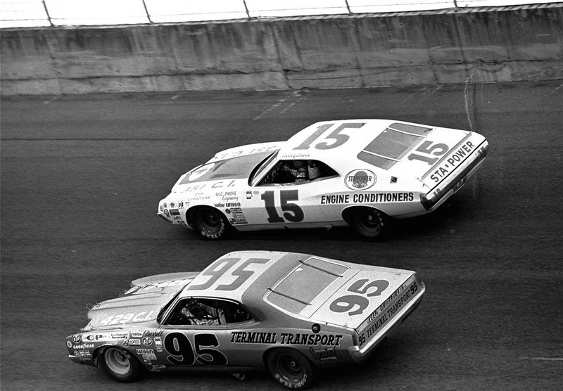 . Darrell Waltrip of Franklin, Tennessee in car 95 duels with Bobby Isaac of Catawba, N.C. during the running of the Daytona 500 February 18, 1973.  (AP Photo)